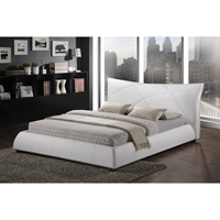 Corie Faux Leather Platform Bed - White