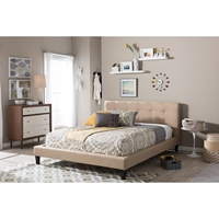 Quincy Linen Platform Bed - Tufted, Dark Beige