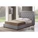 Ipswich Linen King Platform Bed - Button Tufted, Gray - WI-BBT6327-KING-GRAY