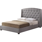 Ipswich Linen King Platform Bed - Button Tufted, Gray