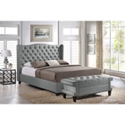 Norwich Linen Platform Bed - Bench, Button Tufted