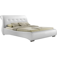 Pergamena Leather Platform Bed - Button Tufted