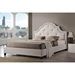 Colchester Linen Platform Bed - Button Tufted, Nailhead - WI-BBT6433-BED