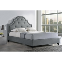 Colchester Linen Platform Bed - Button Tufted, Nailhead