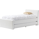 Cosmo Faux Leather Twin Trundle Bed - White