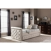 Swamson Button Tufted Twin Daybed - Roll-Out Trundle Bed, Light Beige - WI-BBT6576T-BEIGE-TWIN