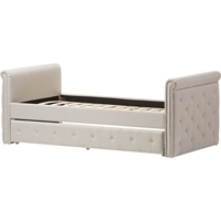 Swamson Button Tufted Twin Daybed - Roll-Out Trundle Bed, Light Beige