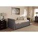 Swamson Button Tufted Twin Daybed - Roll-Out Trundle Bed, Gray - WI-BBT6576T-GRAY-TWIN