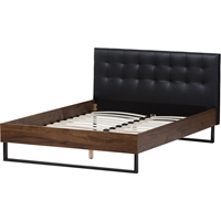 Mitchell Platform Bed - Faux Leather Headboard, Grid-Tufting