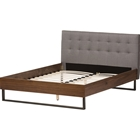 Mitchell Platform Bed - Fabric Headboard, Grid-Tufting