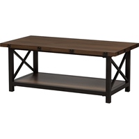 Herzen 1 Shelf Coffee Table - Antique Black and Brown