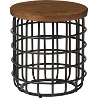 Carie Round Accent Table - Brown, Black