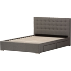 Rene Fabric 4 Drawers Storage Platform Bed - Button Tufted, Gray
