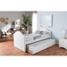 Alessia Faux Leather Daybed - Guest Trundle Bed, White - WI-CF8751-WHITE-DAY-BED