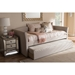 Camino Fabric Upholstered Daybed - Guest Trundle Bed, Beige - WI-CF8756-BEIGE-DAY-BED