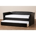 Camino Faux Leather Daybed - Guest Trundle Bed, Black - WI-CF8756-BLACK-DAY-BED