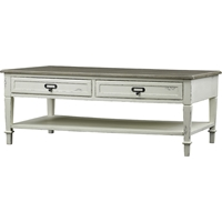 Dauphine 2 Drawers Accent Coffee Table - White, Light Brown