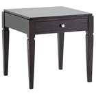 Haley Wood End Table - Dark Brown Finish, 1 Drawer