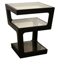 Clara 3-Tiered End Table with Glass Shelves