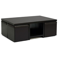 Prescott Modern Table and Stool Set with Hidden Storage