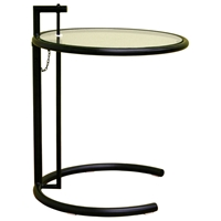 Eileen Gray Round Glass Top Black End Table