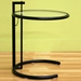 Eileen Gray Round Glass Top Black End Table - WI-CT33161