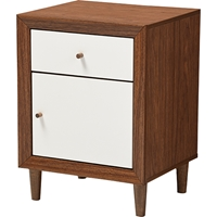 Harlow 1 Drawer Nightstand - Walnut Brown and White