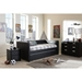 Frank Faux Leather Button Tufted Twin Daybed - Trundle Bed, Black - WI-FRANK-BLACK-DAYBED