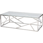 Fiona Rectangular Coffee Table - Glass Top, Stainless Steel