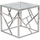 Fiona Square End Table - Glass Top, Stainless Steel