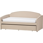 Lanny Nailheads Twin Daybed - Trundle Bed, Beige