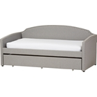 Lanny Nailheads Twin Daybed - Trundle Bed, Gray