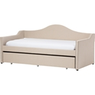 Prime Upholstered Daybed - Roll-Out Trundle Bed, Beige