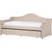 Prime Upholstered Daybed - Roll-Out Trundle Bed, Beige - WI-PRIME-BEIGE-DAYBED