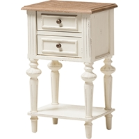 Marquetterie 2 Drawers Nightstand - White, Natural