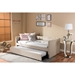 Raymond Fabric Nailhead Twin Daybed - Roll-Out Trundle Bed, Beige - WI-RAYMOND-BEIGE-DAYBED