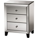 Chevron 3 Drawers Nightstand - Silver Mirrored - WI-RS1155