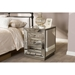 Currin Mirrored 3 Drawers Nightstand - Silver - WI-RS2102