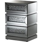 Sabrina 3 Drawers Nightstand - Silver Mirrored