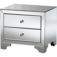 Farrah 2 Drawers Nightstand - Silver Mirrored