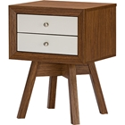 Warwick 2 Drawers Nightstand - Walnut, White