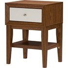 Gaston 1 Drawer Accent Table - Walnut, White