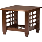 Larissa Square End Table - 1 Shelf, Cherry Brown
