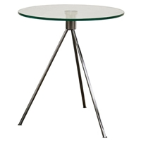 Triplet Round Glass Top End Table with Tripod Base