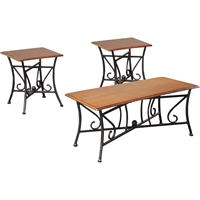 Trident 3-Piece Table Set - Black, Brown