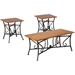 Trident 3-Piece Table Set - Black, Brown - WI-WR-C006