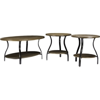 Newcastle 3-Piece Table Set - Brown, Antique Bronze