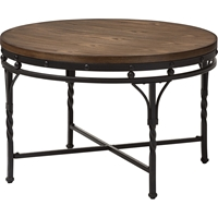 Austin Round Coffee Cocktail Table - Brown, Antique Bronze