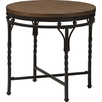 Austin Round End Table - Brown, Antique Bronze