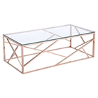 Cage Coffee Table - Glass Top, Rose Gold